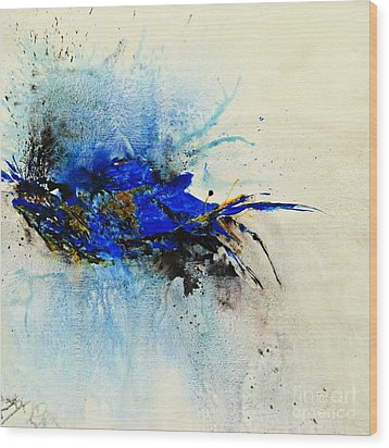 Wood Print featuring the painting Magical Blue-abstract Art by Ismeta Gruenwald