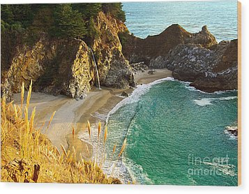 Magical Falls Of Mcway Waterfall At Julia Pfeiffer Burns State Park Wood Print by Jamie Pham