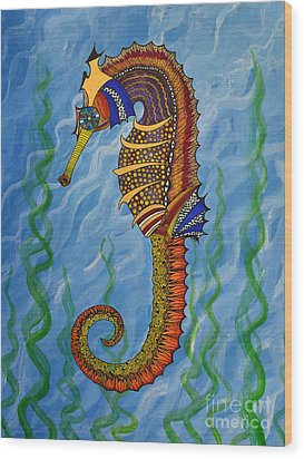 Wood Print featuring the painting Magical Seahorse by Suzette Kallen