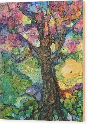 Magical Tree Wood Print by Lin Deahl