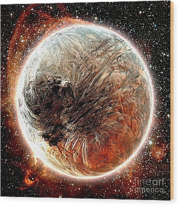 Magma Planet Wood Print by Bernard MICHEL