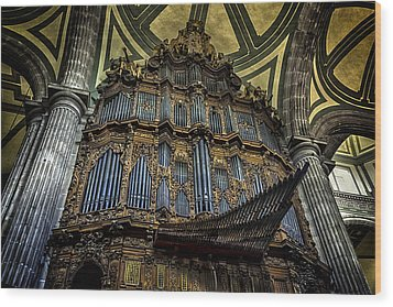 Magnificent Pipe Organ Wood Print by Lynn Palmer