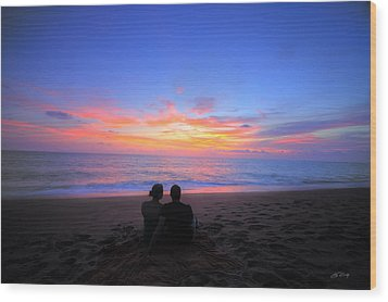 Magnificent Sunset With Couple Wood Print