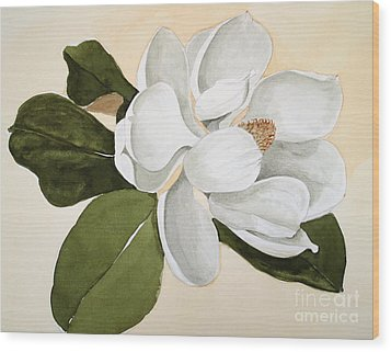 Wood Print featuring the painting Magnolia Bloom by Nancy Kane Chapman
