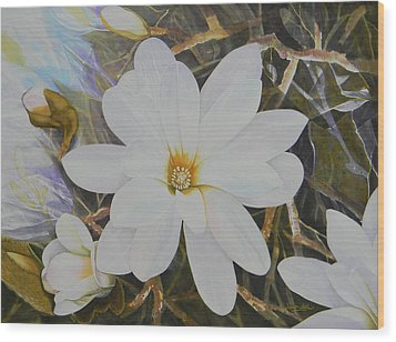 Magnolia Blossom Wood Print by Adel Nemeth