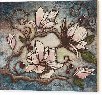 Magnolia Branch I Wood Print