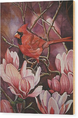 Magnolia Cardinal Wood Print by Cheryl Borchert
