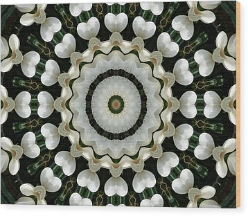 Wood Print featuring the photograph Magnolia Hearts Mandala by MM Anderson