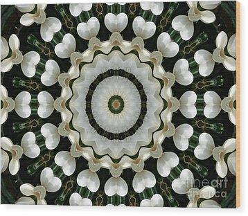 Magnolia Hearts Mandala Wood Print by MM Anderson