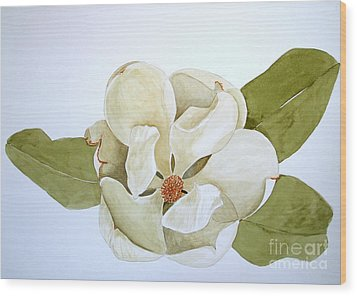 Wood Print featuring the painting Magnolia Highlight by Nancy Kane Chapman