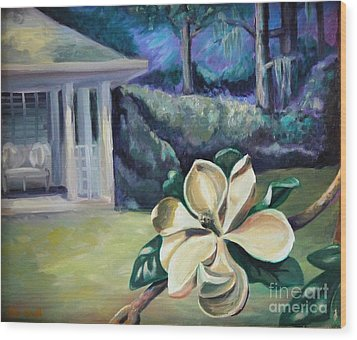 Magnolia In Moonlight Wood Print by Ellen Howell