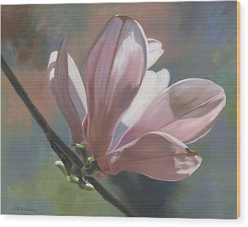 Wood Print featuring the painting Magnolia Petals by Alecia Underhill