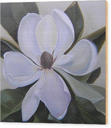 Magnolia Square Wood Print