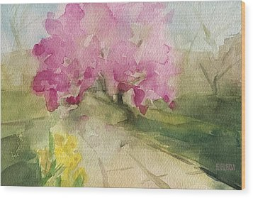 Magnolia Tree Central Park Watercolor Landscape Painting Wood Print