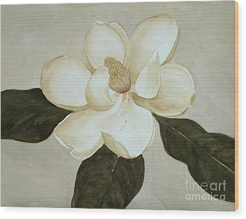 Wood Print featuring the painting Magnolia Wave by Nancy Kane Chapman