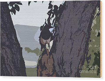 Magpie Morning  Wood Print