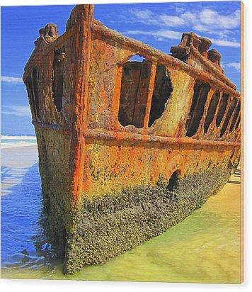 Maheno Shipwreck Wood Print by Ramona Johnston