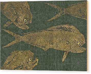 Mahi Mahi On Black W/ Gold Thread Unryu Paper Wood Print