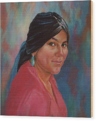 Wood Print featuring the painting Maiden From Jemez Pueblo by Ann Peck