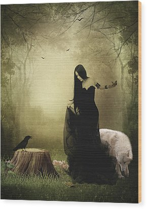 Maiden Of The Forest Wood Print by Sharon Lisa Clarke