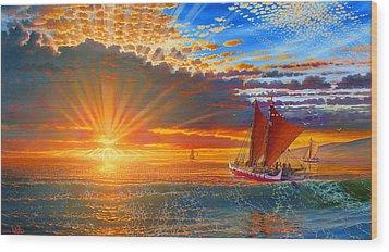 Maiden Voyage Of The Mo'okiha O Pi'ilani Wood Print by Loren Adams
