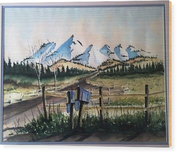 Wood Print featuring the painting Mail Boxes Sold by Richard Benson