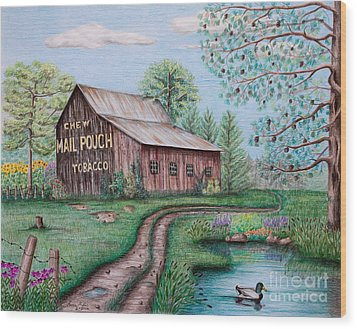 Mail Pouch Tobacco Barn Wood Print by Lena Auxier