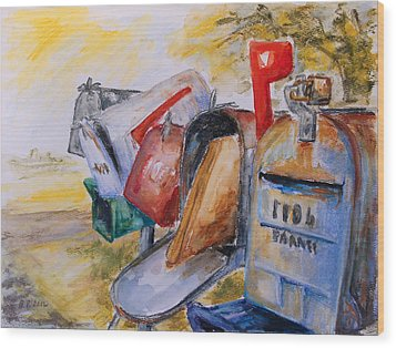 Mailboxes In Texas Wood Print by Barbara Pommerenke