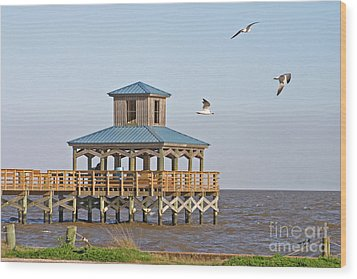 Main Pier At Pleasure Island Wood Print by D Wallace