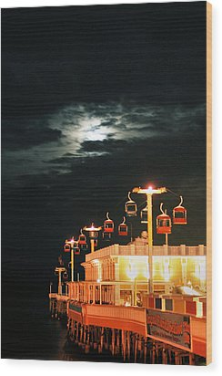 Main St Pier Sky Lift Wood Print by Paulette Maffucci