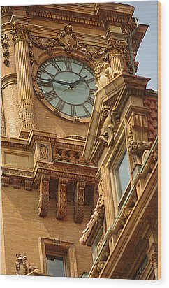 Main St Station Clock Tower Richmond Va Wood Print by Suzanne Powers