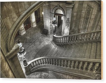 Main Staircase From Above Wood Print