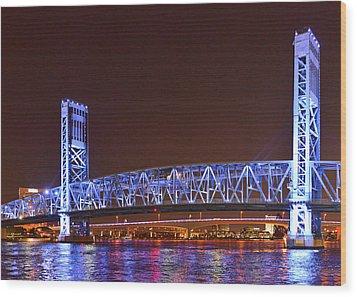 Main Street Bridge Jacksonville Wood Print by Christine Till