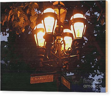 Main Street Gaslights - Abstract Wood Print by Jacqueline M Lewis