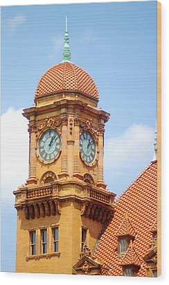 Main Street Station Clock Tower Richmond Va Wood Print by Suzanne Powers