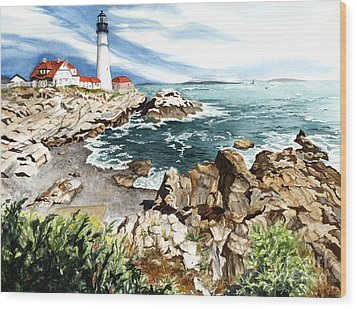 Maine Attraction Wood Print by Barbara Jewell