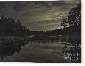 Maine Beaver Pond At Night Wood Print