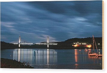 Maine Bridge And Fort Knox  Wood Print by Barbara West