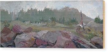 Maine Cove In Fog Wood Print by J R Baldini