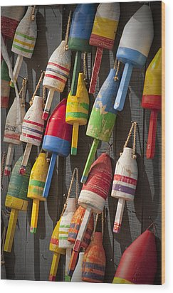 Maine Fishing Buoys Wood Print by Randall Nyhof