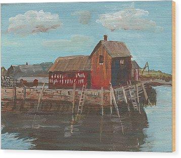 Maine Fishing Shack Wood Print