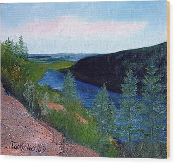 Maine Jordon Pond Wood Print by Laura Tasheiko