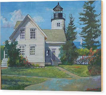 Maine Lighthouse Wood Print by Michael McDougall