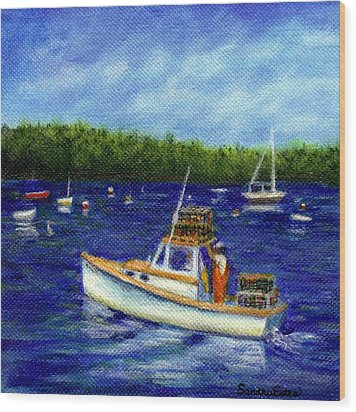 Maine Lobster Boat Wood Print by Sandra Estes
