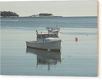 Maine Lobster Boats In Winter Wood Print by Keith Webber Jr