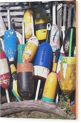 Maine Lobster Buoys Wood Print by Denyse Duhaime