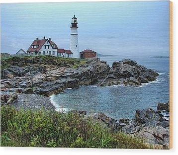 Maine Morning At Portland Head Light Wood Print by Carolyn Fletcher
