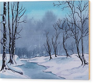 Maine Snowy Woods Wood Print