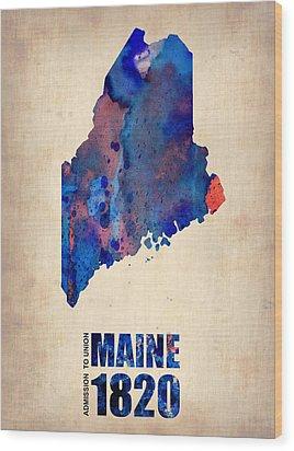 Maine Watercolor Map Wood Print by Naxart Studio