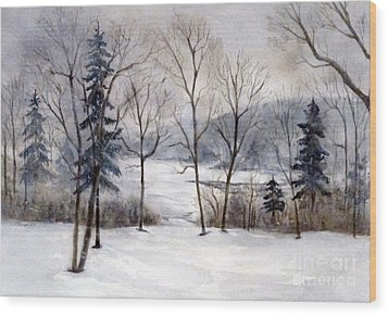 Maine Winter Wood Print